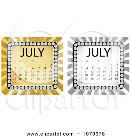 Clipart Gold And Silver July Burst Calendars - Royalty Free Vector Illustration by Andrei Marincas