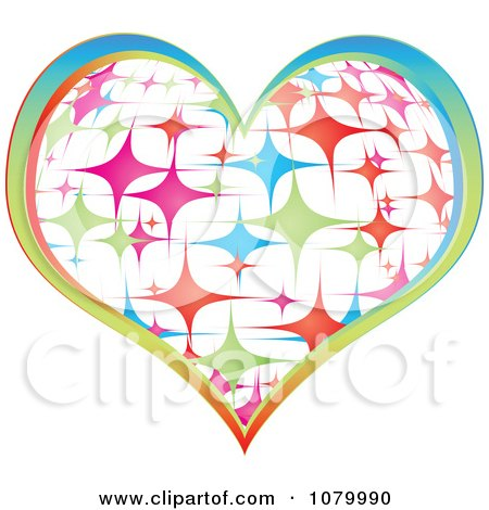 Clipart Colorful Sparkly Casino Heart Icon - Royalty Free Vector Illustration by Andrei Marincas