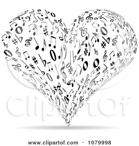 Clipart Black And White Music Note Heart - Royalty Free Vector Illustration by Andrei Marincas