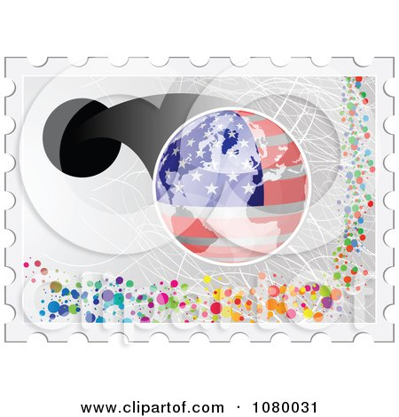 Clipart American Stamp With A Globe And Dots - Royalty Free Vector Illustration by Andrei Marincas