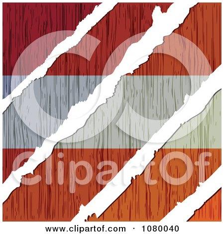 Clipart Rips Through A Wooden Austria Flag - Royalty Free Vector Illustration by Andrei Marincas