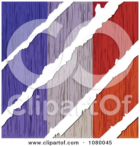 Clipart Rips Through A Wooden French Flag - Royalty Free Vector Illustration by Andrei Marincas
