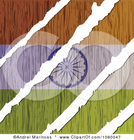 Clipart Rips Through A Wooden Indian Flag - Royalty Free Vector Illustration by Andrei Marincas