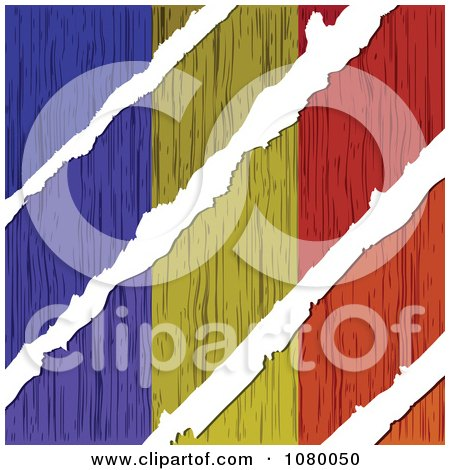 Clipart Rips Through A Wooden Romanian Flag - Royalty Free Vector Illustration by Andrei Marincas
