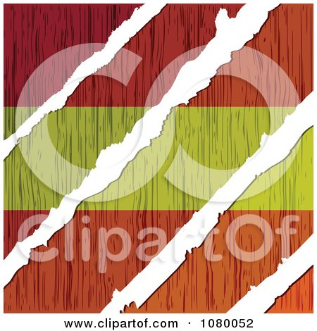 Clipart Rips Through A Wooden Spanish Flag - Royalty Free Vector Illustration by Andrei Marincas