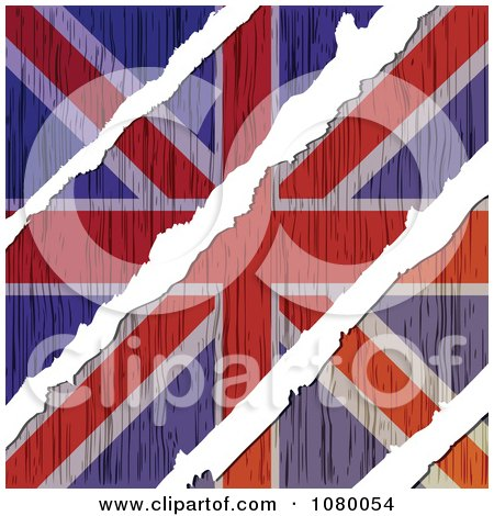 Clipart Rips Through A Wooden UK Flag - Royalty Free Vector Illustration by Andrei Marincas