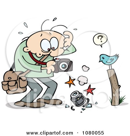 Clipart Toon Guy Holding A Broken Camera And A Confused Bird On A Post - Royalty Free Vector Illustration by gnurf
