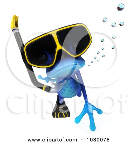Clipart 3d Blue Springer Frog Snorkeling 3 - Royalty Free CGI Illustration by Julos