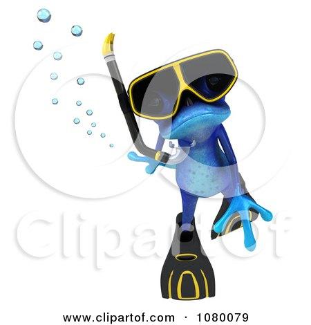 Clipart 3d Blue Springer Frog Snorkeling 2 - Royalty Free CGI Illustration by Julos