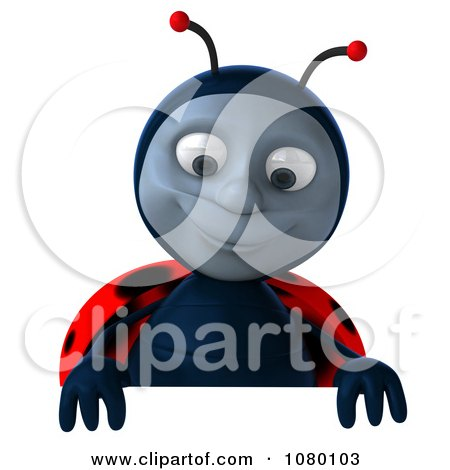 Clipart 3d Ladybug Looking Down At A Sign - Royalty Free CGI Illustration by Julos