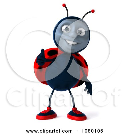 Clipart 3d Ladybug Holding A Thumb Up - Royalty Free CGI Illustration by Julos