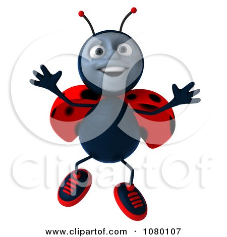 Clipart 3d Ladybug Leaping - Royalty Free CGI Illustration by Julos