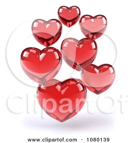 Clipart 3d Red Glass Hearts - Royalty Free CGI Illustration by Julos