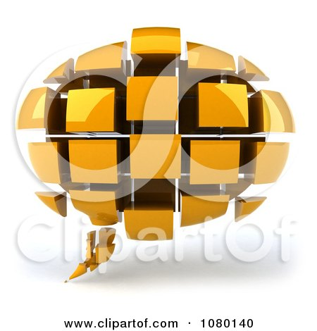 Clipart 3d Yellow Chat Balloon Made Of Cubes - Royalty Free CGI Illustration by Julos