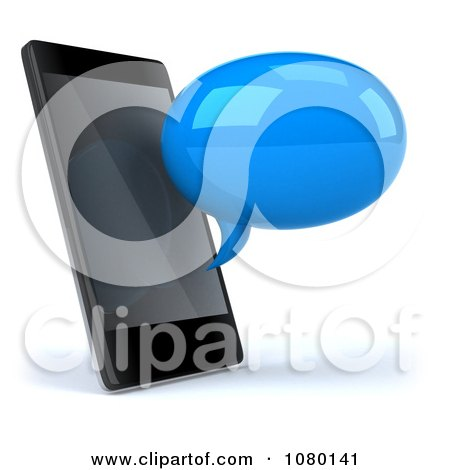 Clipart 3d Blue Text Chat Balloon By A Cell Phone - Royalty Free CGI Illustration by Julos