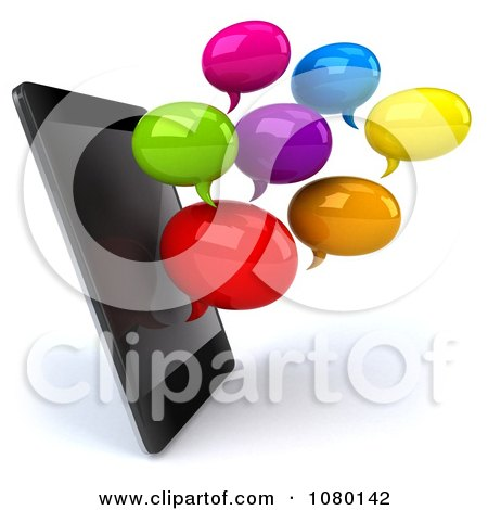 Clipart 3d Colorful Text Chat Balloons By A Cell Phone - Royalty Free CGI Illustration by Julos