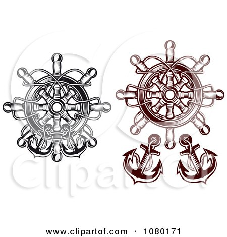 Clipart Black And Brown Nautical Helms And Anchors - Royalty Free Vector Illustration by Vector Tradition SM