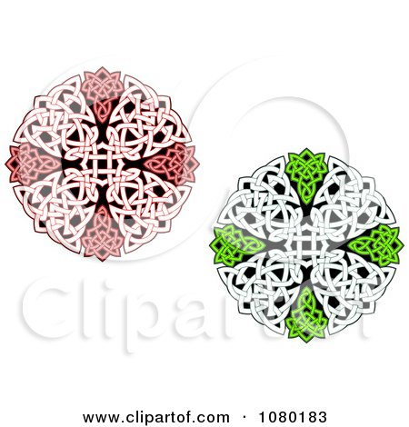 Clipart Red And Green Celtic Medallions 1 - Royalty Free Vector Illustration by Vector Tradition SM
