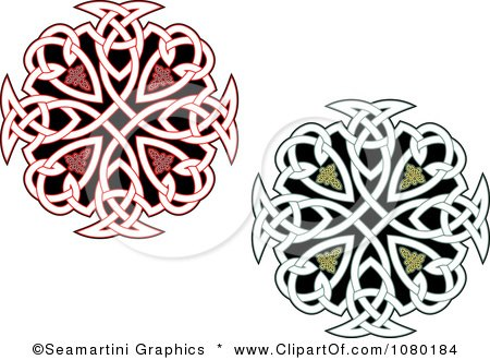 Clipart Red And Green Celtic Medallions 2 - Royalty Free Vector Illustration by Vector Tradition SM