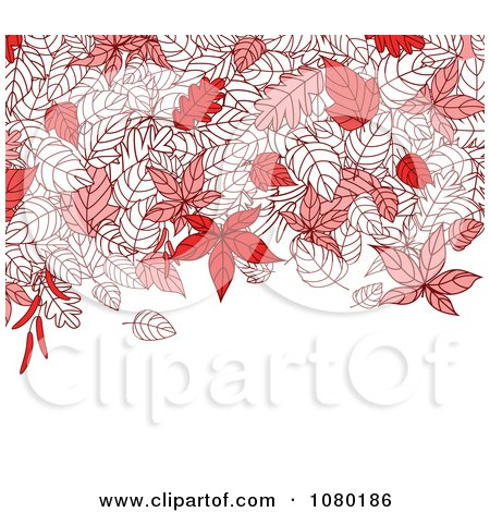 Clipart Autumn Background Of Red Leaves And Copyspace - Royalty Free Vector Illustration by Vector Tradition SM