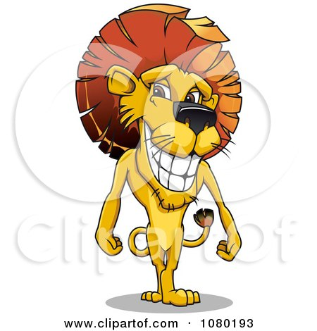 Clipart Standing Male Lion With A Mohawk Mane - Royalty Free Vector Illustration by Vector Tradition SM
