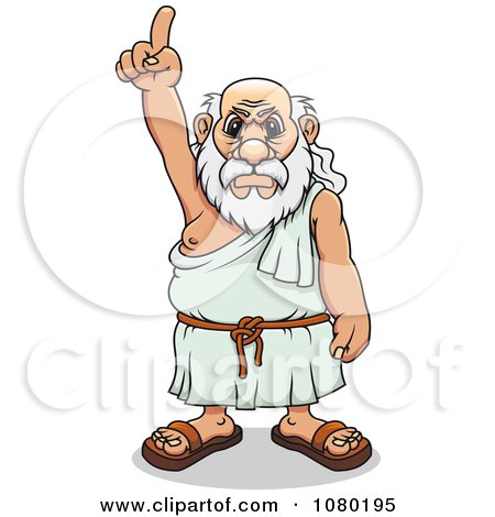 Clipart Mad Greek Man Pointing Upwards - Royalty Free Vector Illustration by Vector Tradition SM
