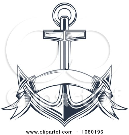 Clipart Navy Blue Banner And Anchor - Royalty Free Vector Illustration by Vector Tradition SM
