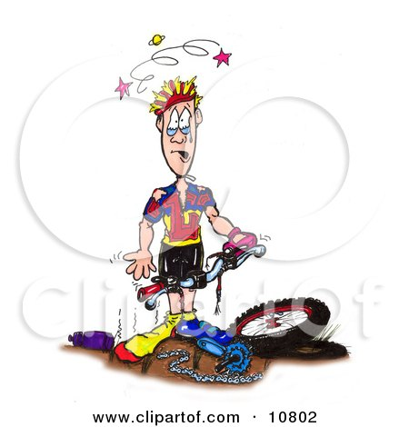 Sad and Stunned Male Biker Clutching The Handles to His Damaged Mountain Bike Clipart Illustration by Spanky Art
