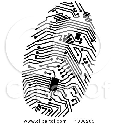 Clipart Black Circuit Finger Print - Royalty Free Vector Illustration by Vector Tradition SM