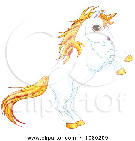 Clipart Magical Rearing White Unicorn With Sparkly Orange Hair - Royalty Free Vector Illustration by Pushkin