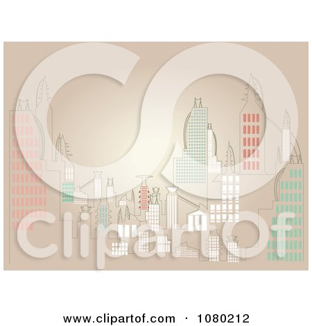 Clipart City Skyline Over Tan - Royalty Free Vector Illustration by mheld