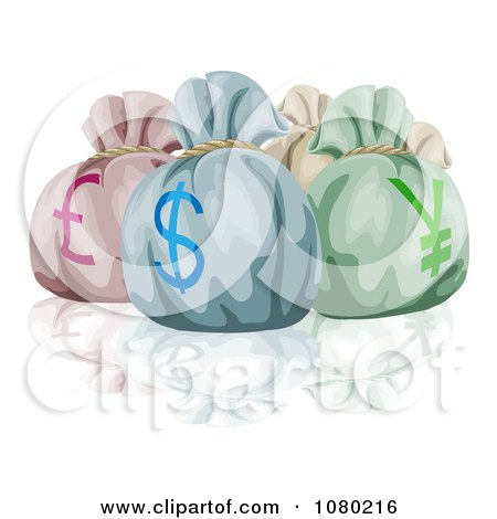 Clipart Lira Dollar And Yen Money Bags And A Reflection - Royalty Free Vector Illustration by AtStockIllustration