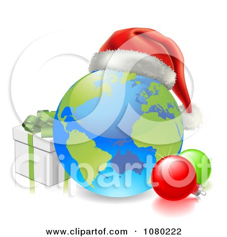 Clipart 3d Globe With A Santa Hat Baubles And Christmas Gift Box - Royalty Free Vector Illustration by AtStockIllustration