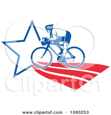 Clipart Cyclist On An American Star Path - Royalty Free Vector Illustration by patrimonio