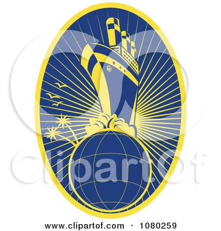 Clipart Yellow And Blue Travel Cruiseship And Globe - Royalty Free Vector Illustration by patrimonio