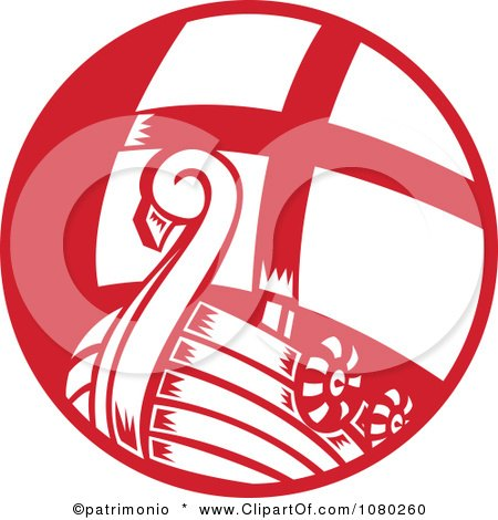Clipart Red And White Viking Sailboat - Royalty Free Vector Illustration by patrimonio
