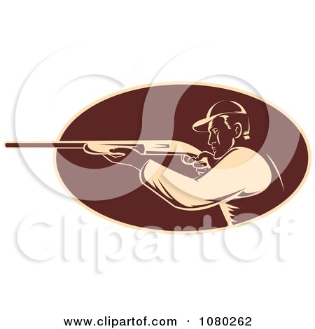 Clipart Tan And Brown Retro Hunter Aiming His Rifle - Royalty Free Vector Illustration by patrimonio