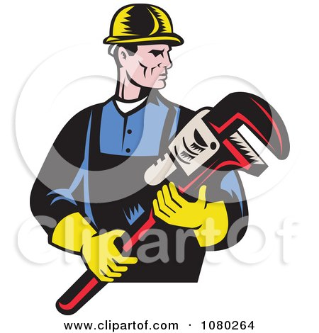 Clipart Retro Plumber Holding A Large Monkey Wrench - Royalty Free Vector Illustration by patrimonio