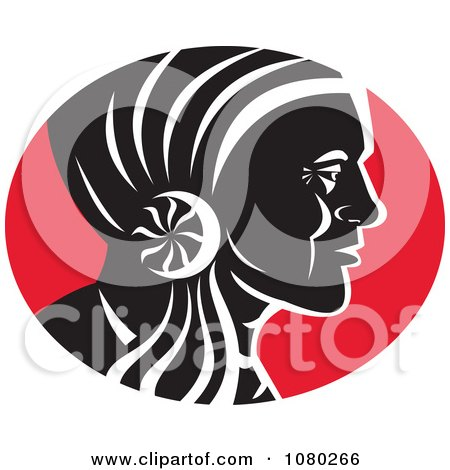 Clipart Black Red And White Native American Chief - Royalty Free Vector Illustration by patrimonio