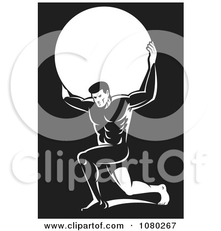 Clipart Black And White Atlas Carrying A Globe - Royalty Free Vector Illustration by patrimonio