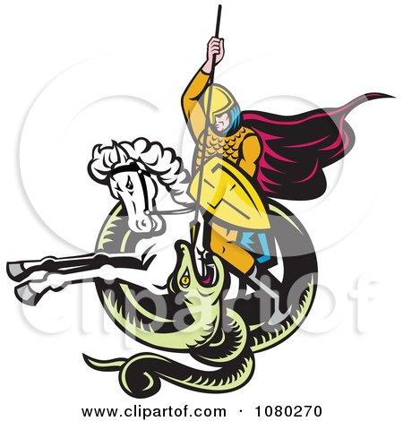 Clipart Retro Knight On Horseback Spearing A Snake - Royalty Free Vector Illustration by patrimonio