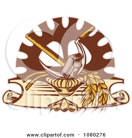 Retro Hammer Sickle Gear Cog And Wheat Logo Posters, Art Prints