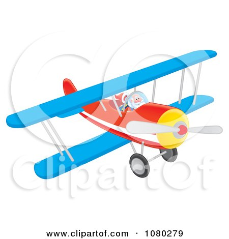 Clipart Santa Flying A Blue And Red Biplane - Royalty Free Illustration by Alex Bannykh