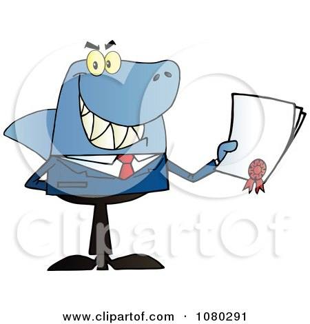 Clipart Shark Businessman Holding A Bad Contract In His Hand - Royalty Free Vector Illustration by Hit Toon