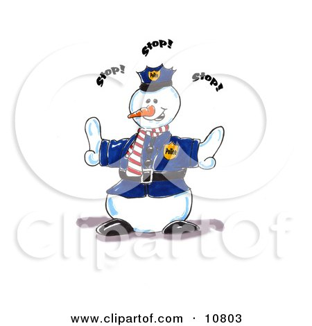 Police Snowman Directing People To Stop Clipart Illustration