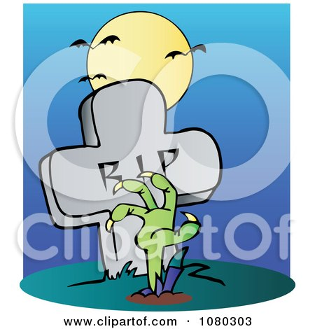 Clipart Green Zombie Hand Reaching Up From The Earth In Front Of A Tombstone - Royalty Free Vector Illustration by Hit Toon