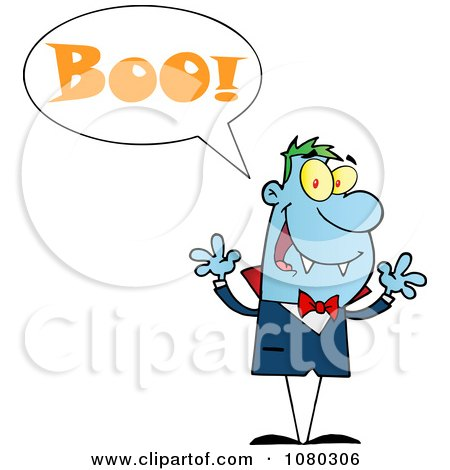 Clipart Blue Halloween Vampire Screaming Boo - Royalty Free Vector Illustration by Hit Toon