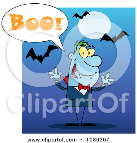 Clipart Halloween Vampire Screaming Boo Under Bats On Blue - Royalty Free Vector Illustration by Hit Toon