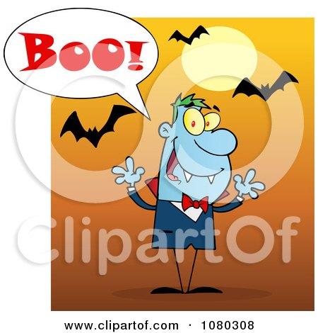 Clipart Halloween Vampire Screaming Boo Under Bats On Orange - Royalty Free Vector Illustration by Hit Toon
