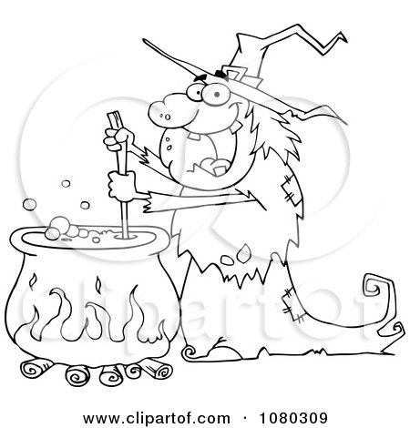 Clipart Outlined Warty Halloween Witch Stirring A Potion In A Cauldron - Royalty Free Vector Illustration by Hit Toon